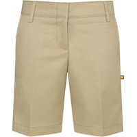 Khaki Flat Front Stretch Shorts with School Logo