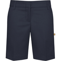 Navy Flat Front Stretch Shorts with School Logo