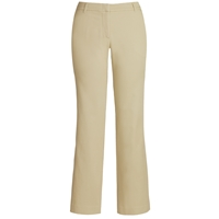 Khaki Flat Front Stretch Pants with School Logo