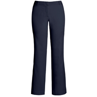 Navy Flat Front Stretch Pants with School Logo
