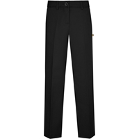 Black Irvington Flat Front Pants with School Logo