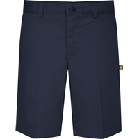 Navy Irvington Flat Front Walk Short with School Logo