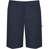 Navy Irvington Flat Front Walk Shorts with School Logo