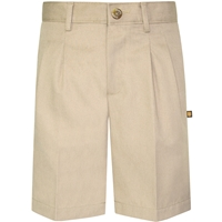 Khaki Hawthorne Pleated Front Walk Shorts with School Logo