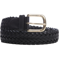 Black Leather Braided Belt