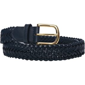 Navy Leather Braided Belt