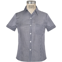 Navy & White Gingham Short Sleeve Camp Shirt