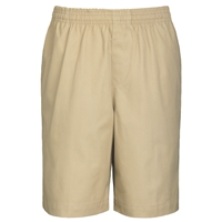 Khaki Drawstring Pull-On Walk Shorts with School Logo