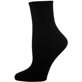 Black Cotton Crew Socks