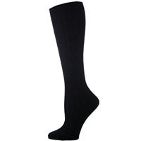 Black Knee-Hi Cable Knit Sock