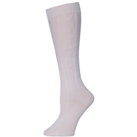 White Knee-Hi Cable Knit Sock