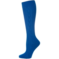 Mayfair Blue Knee-Hi Cable Knit Sock