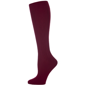 Wine Cable Knit Knee-Hi Socks