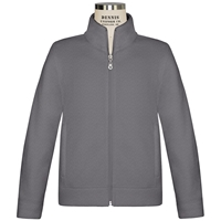 Heather Grey Microfleece Jacket-front zipper with School logo
