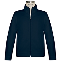 Navy Microfleece Zip Front Jacket with School Logo
