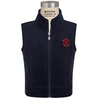 Navy Zip-Up Microfleece Vest with Primrose logo