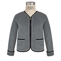 Heather Grey/Black Cascade Cardigan with School logo