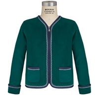 Dark Green & Navy Cascade Cardigan with School logo