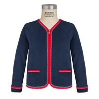 Navy & Red Cascade Cardigan with School logo