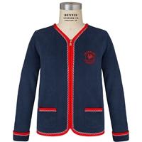 Navy & Red Cascade Cardigan with Primrose logo