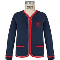 Navy & Red Cascade Cardigan with Primrose logo