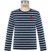 Navy & White Stripe Long Sleeve Lightweight Pullover with Primrose logo
