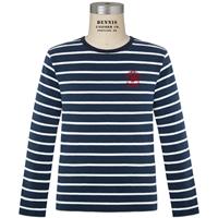 Navy & White Stripe Long Sleeve Lightweight Pullover with Primrose logo