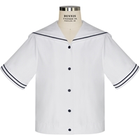 White Poplin Middy Blouse with Navy Trim