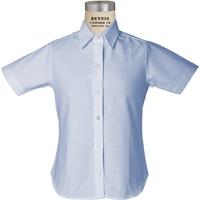 Blue Short Sleeve Girls Oxford Cloth Shirt with School logo