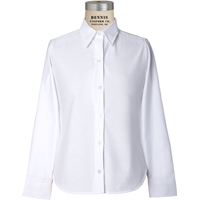 White Long Sleeve Girls Oxford Cloth Shirt with School logo