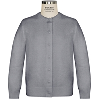 Heather Grey Crew Neck Cardigan Sweater