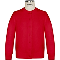 Red Crew Neck Cardigan with School Logo