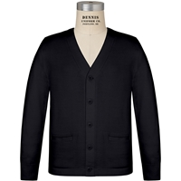 Black V-Neck Button Front Cardigan with School Logo
