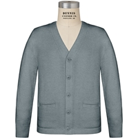 Heather Grey V-Neck Cardigan Sweater with School Logo