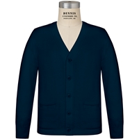 Navy V-Neck Button Front Cardigan with School logo