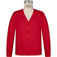 Red V-Neck Cardigan Sweater with School logo