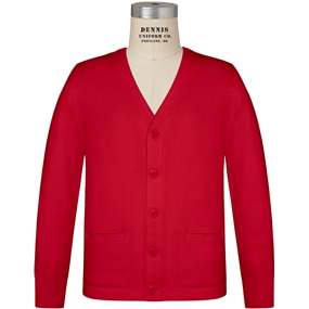 Red V-Neck Cardigan Sweater