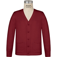 Cardinal V-Neck Cardigan Sweater with School logo