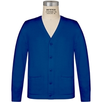 Mayfair Blue V-Neck Button Front Cardigan with School Logo