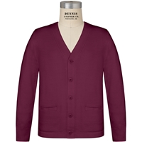 Wine V-Neck Cardigan Sweater with School Logo