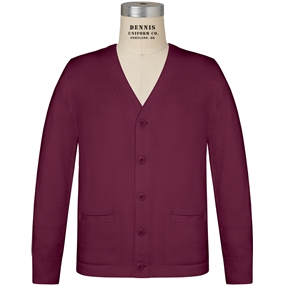 Wine V-Neck Cardigan Sweater