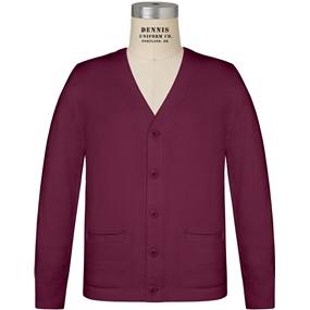 Wine V-Neck Cardigan Sweater