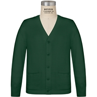 Green V-Neck Cardigan Sweater with School Logo