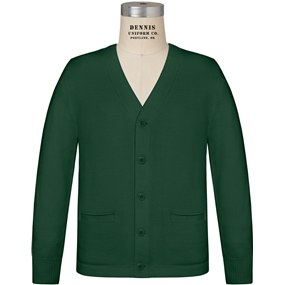 Dark Green V-Neck Cardigan Sweater