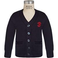 Navy V-Neck Cardigan Sweater with Primrose logo