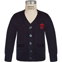 Navy V-Neck Cardigan Sweater with Primrose logo