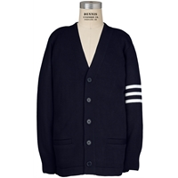 Navy with White Arm Stripes Cardigan Sweater with School logo