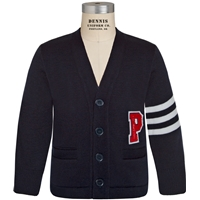 Navy & White Stripe Varsity Cardigan Sweater with Primrose logo