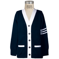 Navy & White Stripe Varsity Cardigan Sweater with School Logo