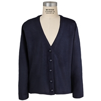 Navy V-Neck Cardigan Sweater with School Logo